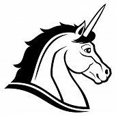 stock photo of unicorn  - Vector sign isolated on white background - JPG