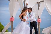 image of wedding arch  - young loving couple on their wedding day beautiful wedding arch on beach outdoor beach wedding in tropics - JPG