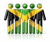 pic of jamaican flag  - Flag of Jamaica on stick figure  - JPG