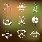 stock photo of duck-hunting  - Set of camping and hunting logo - JPG