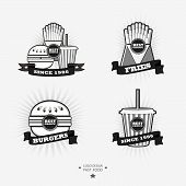 picture of food logo  - Set of fast food junk food logo with ribbon - JPG