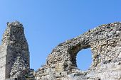 pic of fortified wall  - Ruins of ancient fortress wall in the museum of Chersonesos in Sevastopol town - JPG