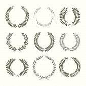 stock photo of laurel  - Set of laurel wreaths - JPG
