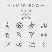 foto of cricket ball  - Sports thin line icon set for web and mobile - JPG