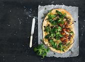 picture of lamb  - Rustic homemade pizza with fresh lamb - JPG