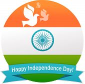 foto of indian flag  - illustration of wavy Indian flag with monument and white dove - JPG