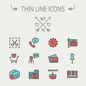 image of barcode  - Business shopping thin line icon set for web and mobile - JPG
