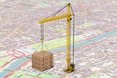 picture of crane hook  - Cargo delivery Concept - JPG