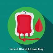 picture of blood  - illustration of a Blood bag with a Blood Drop for World Blood Donor Day - JPG