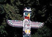 picture of totem pole  - Colourful Totem pole in Stanley Park Vancouver British Columbia Canada - JPG