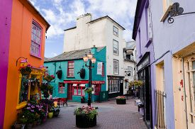 picture of irish  - square of a small irish village with houses and shops full of colors kinsale cork county Ireland - JPG