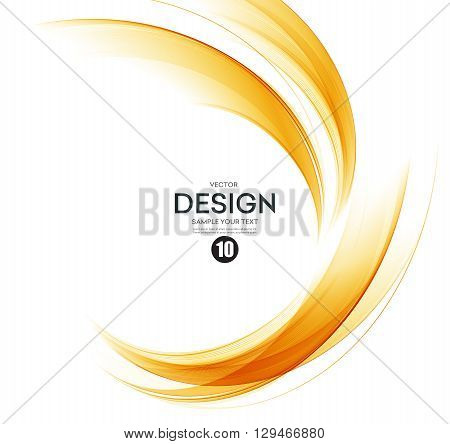poster of Abstract orange color wave design element. Abstract smooth color wavy vector. Curve flow orange motion illustration. Orange smoke wave lines. Orange wave