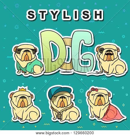 poster of Dogs characters. Doodle dog. Sticker dog english bulldog. Funny character. Funny dogs. Funny animals. Dog isolated. Dog with glasses. Dog in the cap. Dogs set