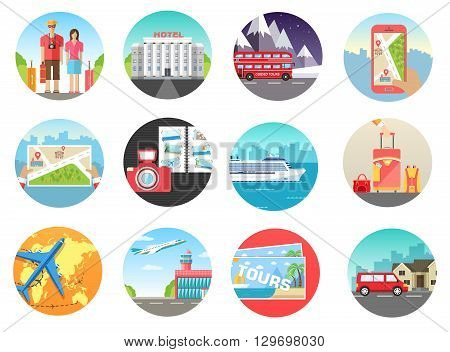 poster of Set of travel vacation tour trip on the water, on land, in the air. Travel background. Travel icons. Travel illustrations. Fast travel design. Travel tour infographic. Flat travel. World travel