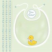 stock photo of baby duck  - baby boy frame announcement with cute duck - JPG
