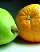 Orange With Pear Close Up