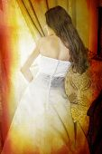 Beautiful Bride With Long Curly Hair In Silk Dress On Grunge Bac