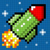 Pixel Rocket Flying Through Space