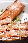 stock photo of salmon steak  - Salmon steak - JPG