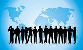 business crowd blue globe