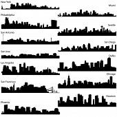 stock photo of silhouette  - Detailed vector silhouettes of USA biggest cities - JPG