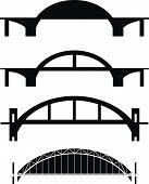 Conjunto de siluetas de puente