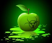 Green Toxic Apple With Biohazard Sing