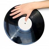Vinyl record & a hand (isolated)