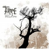 Vector tree (grunge background)