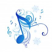 Note and snowflakes - Musical background