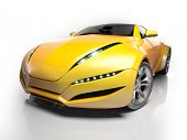 Yellow sports car isolated on white background.  My own car design. Not associated with any brand.
