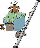 Kuh auf einer Leiter