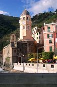Clocktower In The Town Of Vernazza In Cinque Terre, Italy