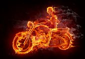 Fire skeleton riding motorcycle