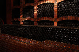 picture of wine cellar  - lot of wine - JPG