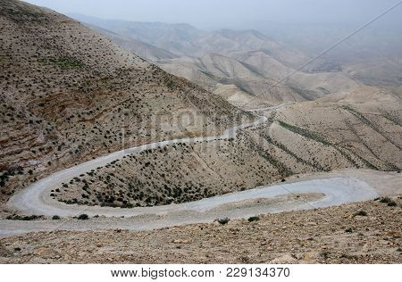 Serpentine Road In Judean Desert