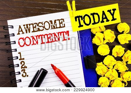 poster of Word, Writing, Text  Awesome Content. Business Concept For Creative Strategy Education Website Conce