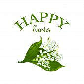 Happy Easter Icon Of Lily Flowers For Greeting Card On Christian Religious Holiday. Vector Design Of poster