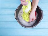 Hands Wash Clothes In A Basin Wash, Nobody, Maid, Housewife, Soft, Background, Powder, Pure poster