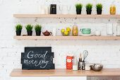 "Morning Kitchen With Plate ""good Morning!"". poster"