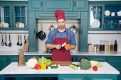 Vegetarian, Health, Diet, Vitamin. Man Chef Cook With Knife In Kitchen, Cuisine. Vegetables And Tool poster