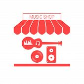 Music Shop, Musical Instruments And Equipment Single Flat Vector Icon. Striped Awning And Signboard. poster