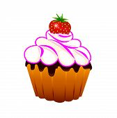 Cupcake  With Strawberries.