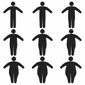 Set Of Icons Human Thick, Thin, Fat, Body Size, Degree Of Obesity, Vector Of The Proportions Of The  poster