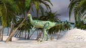 stock photo of dilophosaurus  - dilophosaurus in oasis - JPG