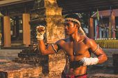 Ancient Muay Thai, Asian Man Exercising Thai Boxing,ancient Traditional Muay Thai Or Thai Boxing Fig poster