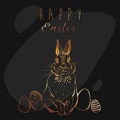 Hand Drawn Vector Abstract Funny Poster With Realistic Rabbit, Easter Eggs And Happy Easter Quotes I poster