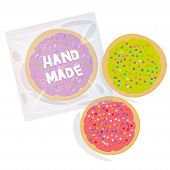 Hand Made Frosted Sugar Cookies, Set Freshly Baked Sugar Cookies  In Transparent Plastic Package Wit poster