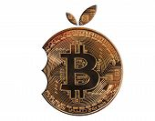 Gold Bitcoin In The Form Of A Bite Orange. Isolated White Background. Mayerized Crypto Currency. Pay poster
