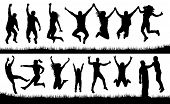 Crowd Of People Jumping, Friends Man And Woman Set. Cheerful Girl And Boy Silhouette Vector Collecti poster
